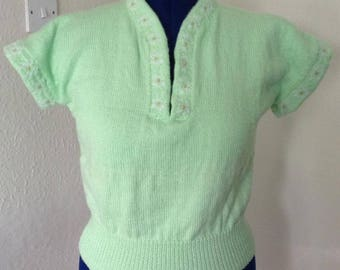"""1950s Spring Green Vintage Style Hand Knitted Sweater - Bust 40""""/42"""" UK Size 16/18 L/XL"""