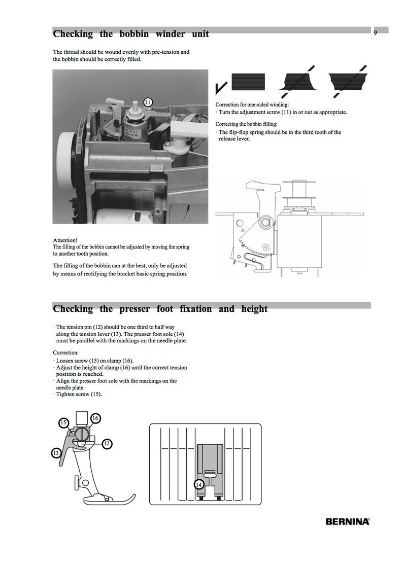 Bernina 165 170 180 185 Sewing Machine Service Manual