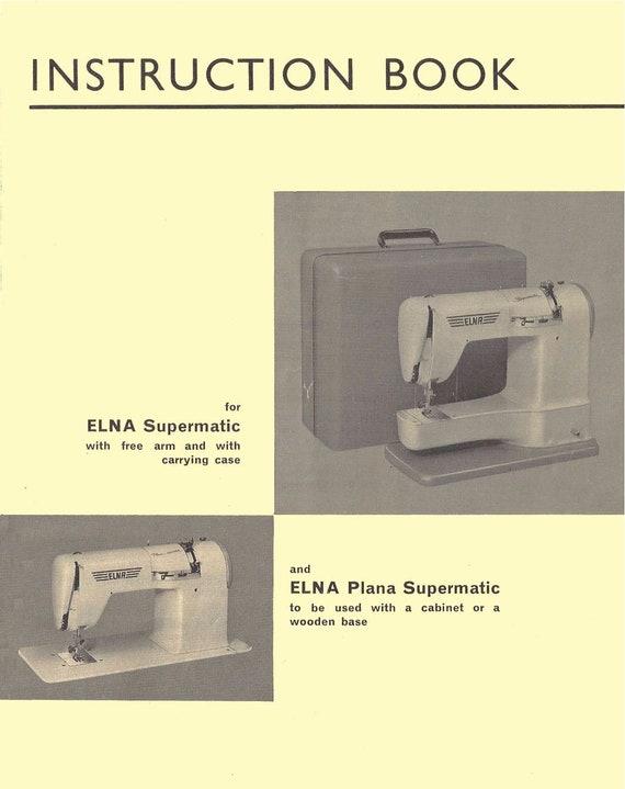 ELNA Supermatic Plana TAN User's Manual Operating Etsy Fascinating Elna Super Sewing Machine Manual