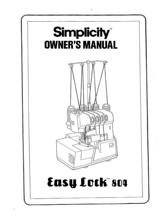 simplicity easy lock 804 instruction operating manual etsy rh etsy com simplicity user manual silver cross simplicity instruction manual