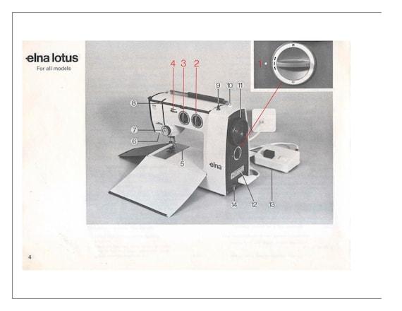 Instruction Manual For Vintage Elna Lotus SP TSP EC Zz Pdf Etsy Gorgeous Elna Lotus Sp Portable Sewing Machine