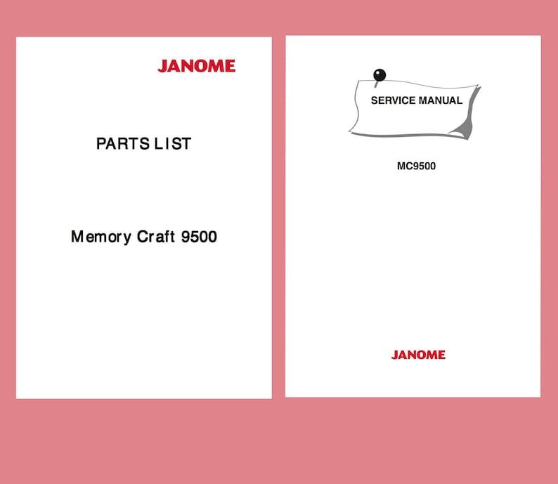 JANOME MC-9500 Service manual & Parts List * Memory Craft 9500 Service /  Repair manual * Schematics * Download link