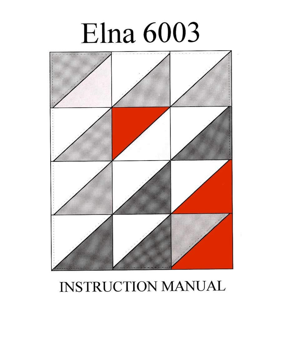 ELNA 6003 Quilters Dream instruction Operating manual PDF Download