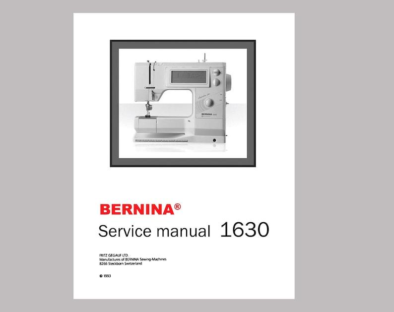 Vintage BERNINA 1630 Inspiration Plus Sewing Machine Service / Repair  Manual * PDF Download