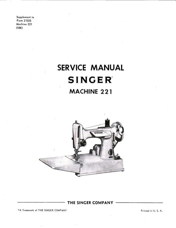 Service Manual And 40 PART Books Vintage Singer Featherweight Etsy Stunning Singer Sewing Machine 221 Manual