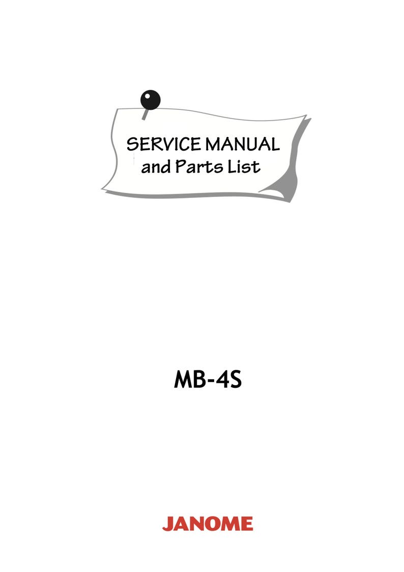 JANOME MB-4S MB4S Service Repair manual & Parts List * Four Needles  embroidery machine * PDF Download