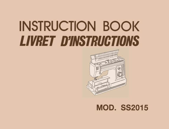 Ss2015 Janome New Home Instruction Service Repair Manual Etsy