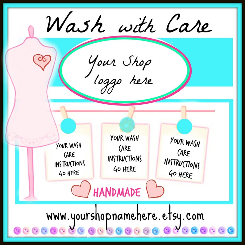 75 care tags 3x 2 personalised wash care instructions
