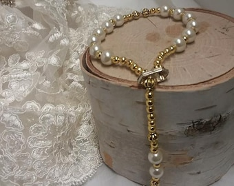 Ivory and gold rosary  and bracelet for  18 inch doll add your Childs name custom made