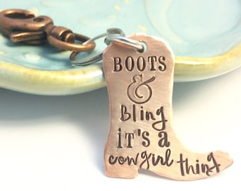 Rustic Copper Cowboy Boot Mixed Metal Key Chain ~ Boots and Bling ~ It's a cowgirl thing ~ Hand Stamped Keychain ~ Rodeo Life ~ Horse Lover