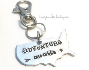 Adventure Awaits ~ Hand Stamped ~ USA ~ Wanderlust ~ Key Chain ~ Custom Keychain ~ Map ~ Geography ~ Long Distance ~ Free Spirit ~ HLJ