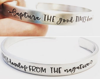 Photographer Gift ~ Capture the Good Times ~ Develop from the negative ~ Hand Stamped Camera Cuff Bracelet ~ Photography Adjust  your Focus