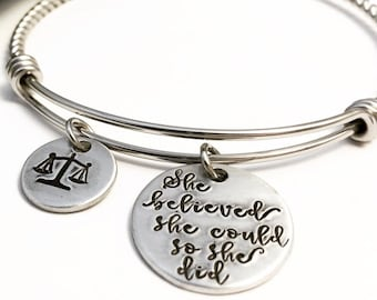 Scales of Justice ~ Bangle Bracelet ~ Lawyer Gift ~ Law School Graduation Commencement ~ Judge ~ Equality ~ Paralegal ~ The future is female