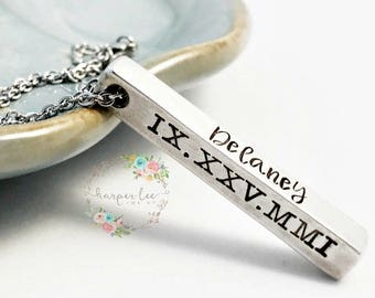 Personalized Four Side Solid Pewter Bar Necklace ~ Custom Coordinates ~ Wanderlust ~ Name Jewelry ~ Roman Numerals ~ Baby Statistics ~ HLJ