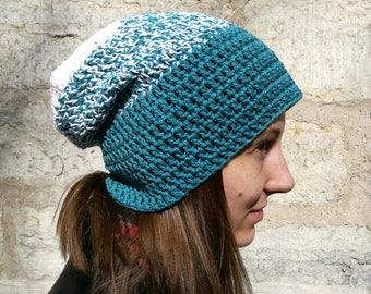 Blue slouchy beanie, cotton hat, vegan women's beanie, surf hat