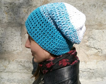 Turquoise blue slouchy beanie, cotton hat, vegan women's beanie, surf hat