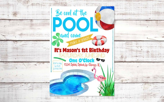 Pool Party Birthday Invitation Summer First