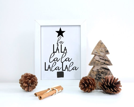 Minimalist Christmas.Fa La La La La Print Christmas Tree Minimalist Christmas Black And White Christmas Modern Christmas Decor Digital Print 8x10 16x20