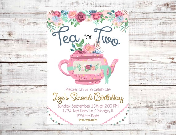 Tea For Two Birthday Invitation Gold Floral Party Girl