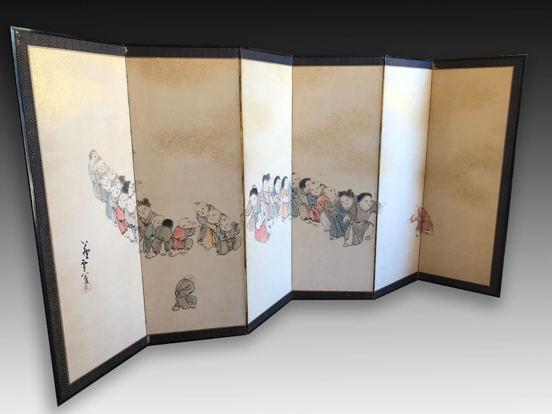 Japanese Screen Painting Children Rosetsu  Byobu  JJ8JL225 image 0