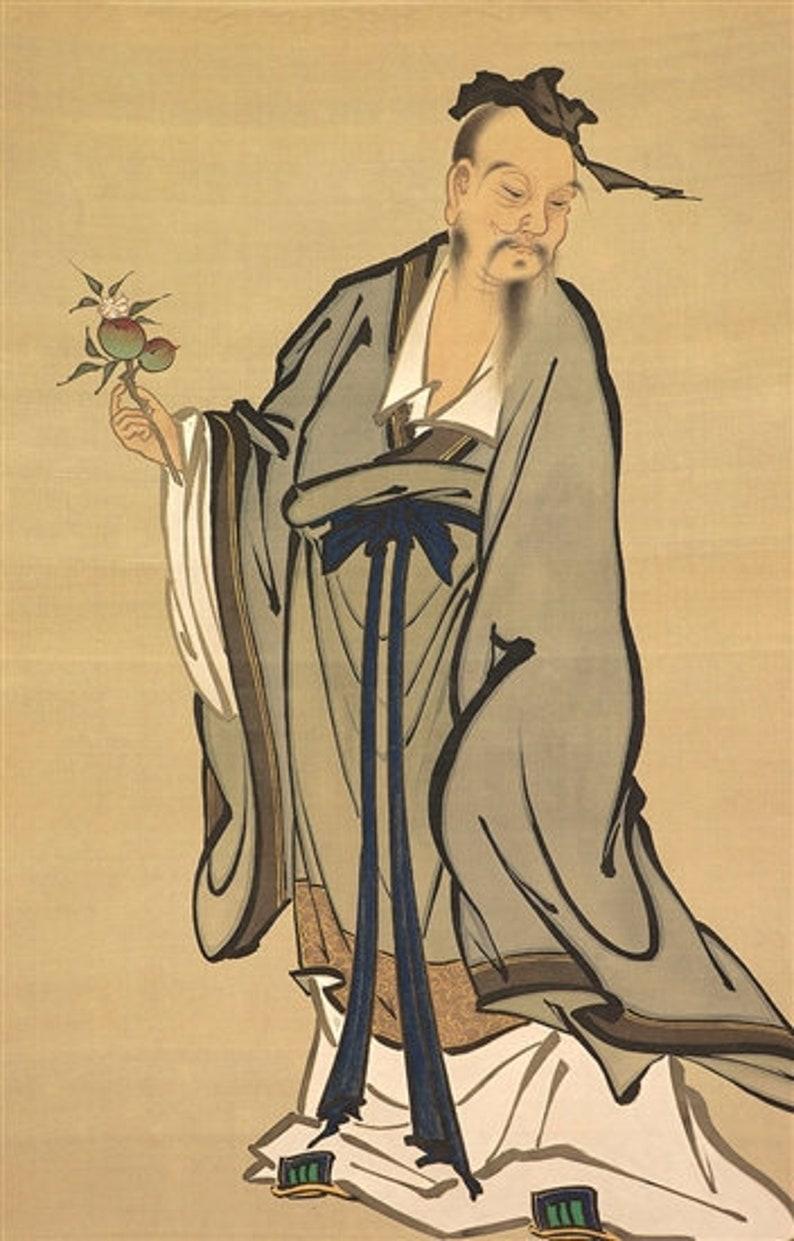 Japanese Scroll Painting Kano Chikanobu Wise Elder with Peach image 0