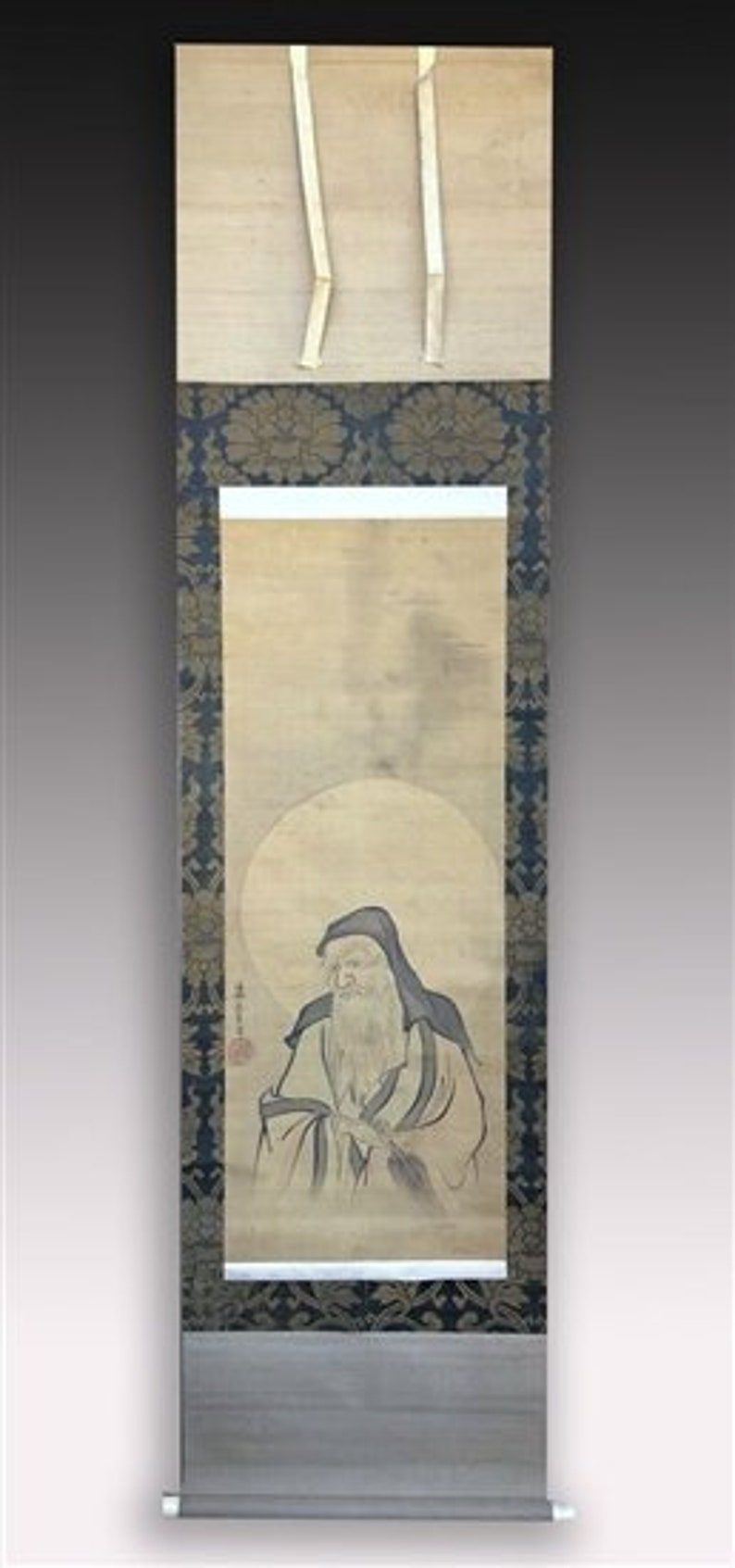 Japanese Scroll Painting Kano School  Zen Patriarch  image 0