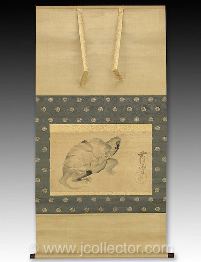 Japanese Scroll Painting Turtle by Rosetsu  JJ5M72 image 0