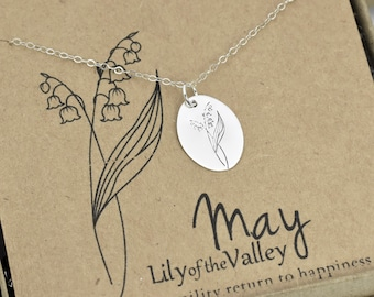 May Birth Flower Necklace, Lily of the Valley Flower, Dainty Floral Silver or Gold Jewelry, Minimalist May Birthday Gift for Mom Daughter