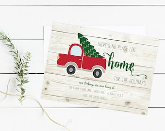 Home for the Holidays, Moving Announcement, New Home Card, new home christmas card, christmas card, old fashioned christmas card, rustic