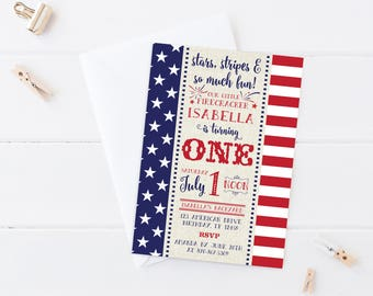 4th Of July Birthday Invitation Party First Labor Day Patriotic
