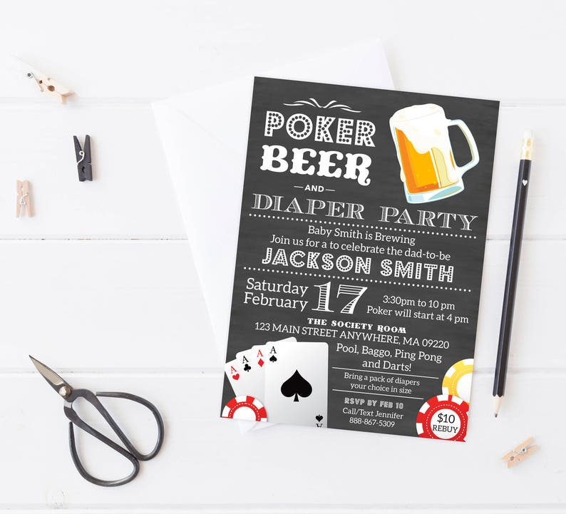 Diaper Party Invitation Beer And Baby Shower Dad Coed Poker