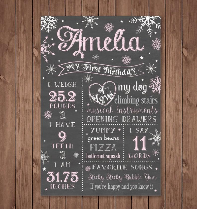 Winter ONEderland Winder ONEderland Girls Chalkboard First Birthday Stats Sign 16x20 PRINTABLE