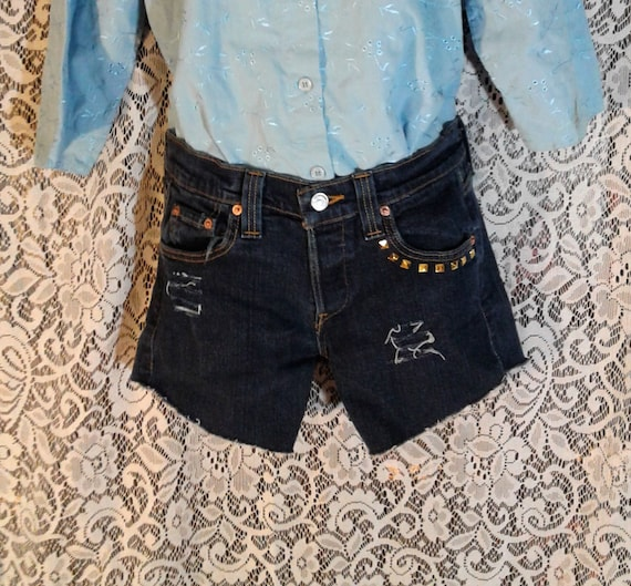 88b68ade93 Levi Distressed Denim Shorts Low Rise Blue Jeans Studded | Etsy