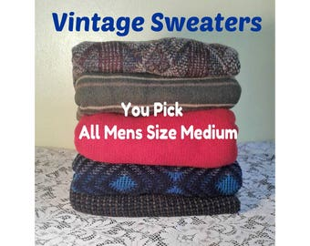 Vintage Patterned Sweater, Mens Oversized Sweater, Vintage Hipster Sweater, Boyfriend Sweater, You PICK Sweater - ALL Mens Size Medium
