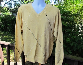 Vintage Mens Yellow Sweater, Mens Oversized Sweater, 80's Vintage Sweater, Hipster Sweater, V-Neck Nautica Sweater, Mens Size Large