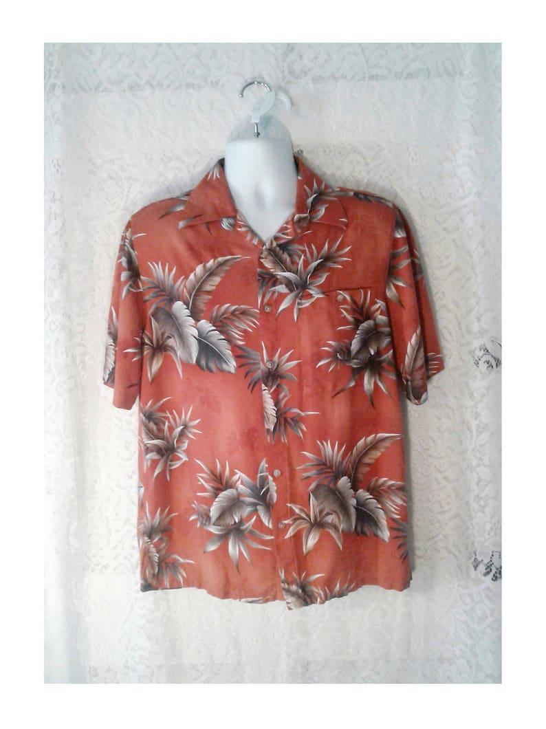 b28c82e8a Men's Vintage Hawaiian Shirt Mens Palm Tree Leaves Shirt   Etsy