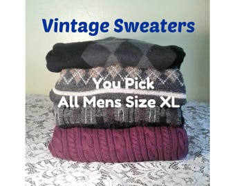 Vintage Patterned Sweater, Oversized 80's Sweater, Mens Vintage Sweater, Grunge Sweater, You PICK Sweater - ALL Mens Size Ex-Large or XL