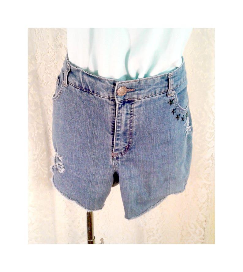50ba6edadb Distressed Studded Shorts Plus Size Destroyed Cutoffs Dark | Etsy