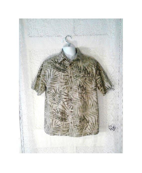 effbe4639 Vintage Green Hawaiian Shirt Tropical Leaves Shirt Mens   Etsy
