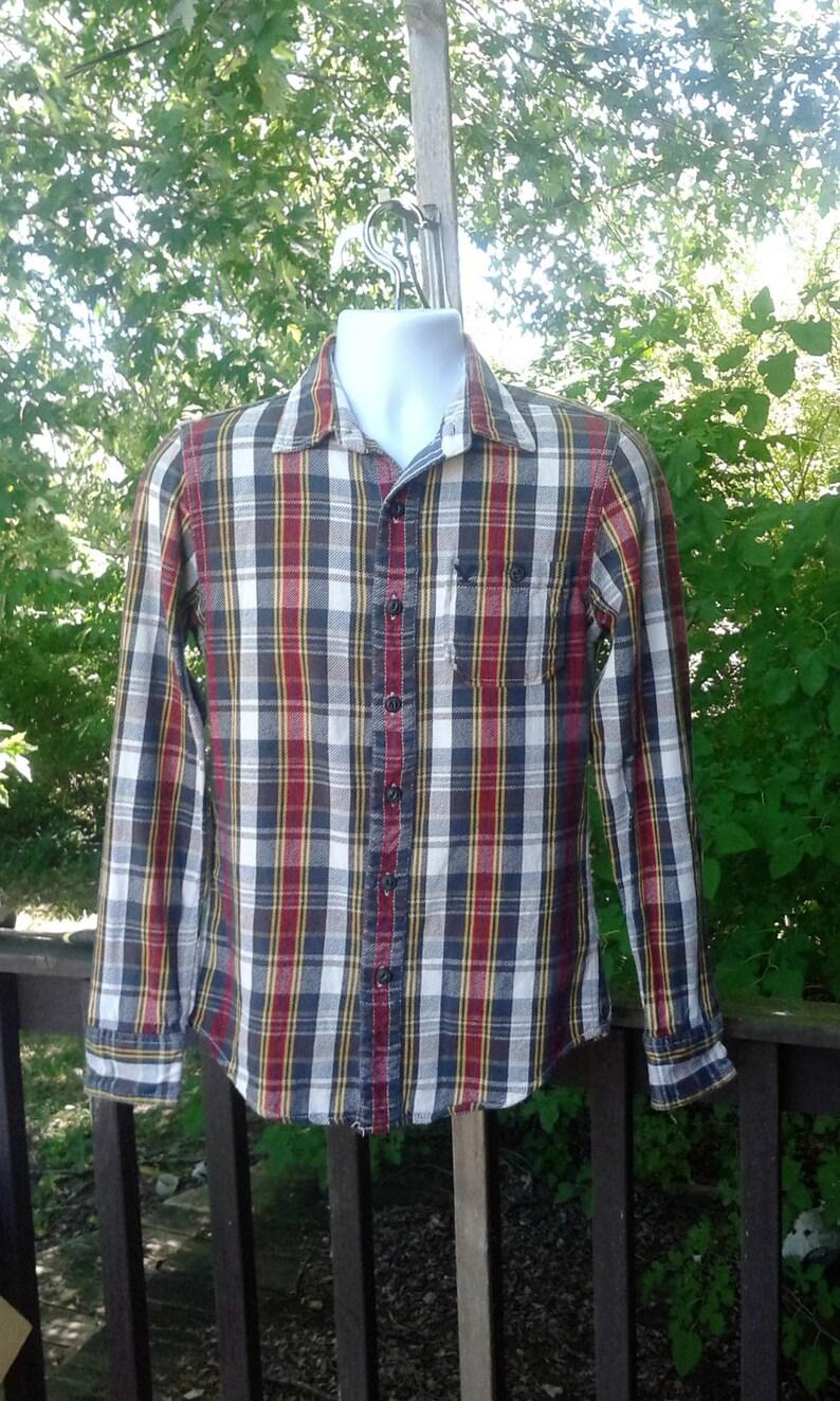 Vintage Mens Flannel Red White Plaid Flannel Shirt Etsy