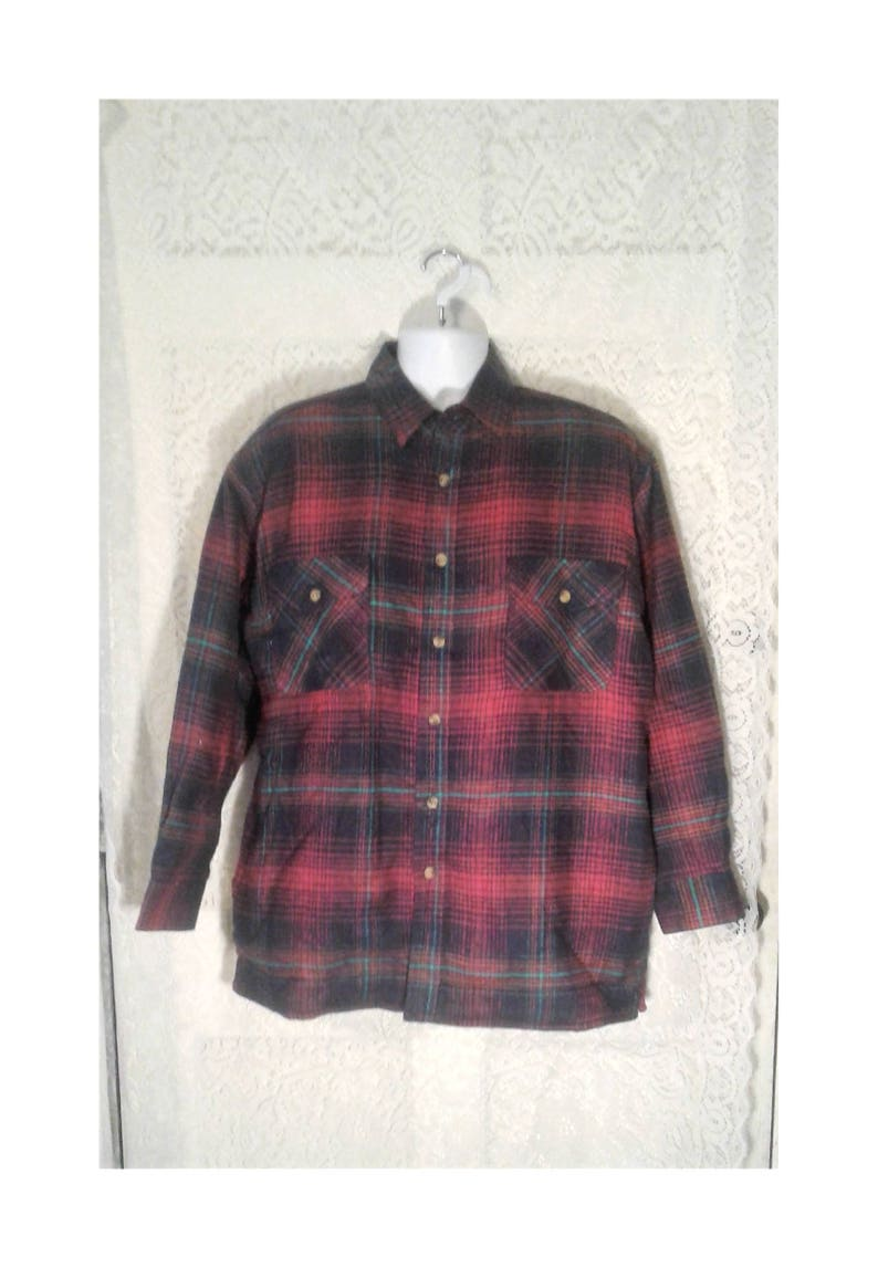 Vintage Thermal Flannel Fleece Lined Flannel Shirt Insulated Etsy
