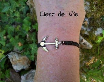 ANCHOR Navy Black macrame bracelet
