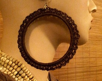 Large lace Brown GIPSY CHIC hoop earrings