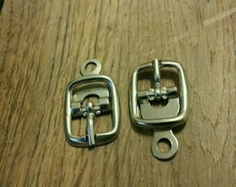 Set of 2 belt loops to RIVET silver metal