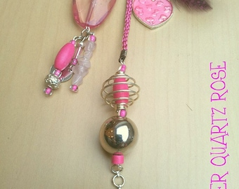 PINK heart charm necklace