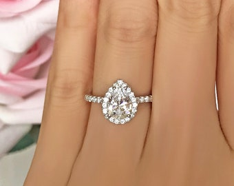 1.5 ctw Pear Halo Engagement Ring, Halo Wedding Ring, Man Made Diamond Simulants, Half Eternity Ring, Commitment Ring, Sterling Silver