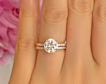 2.25 ctw Round Accented Solitaire Half Eternity Wedding Set, Man Made Diamond Simulants, Sterling Silver, Rose Gold Plated, 40% Final Sale