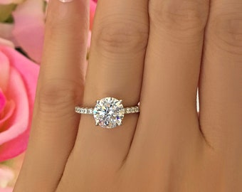 2.25 ctw 2 ct 4 Prong Round Accented Solitaire Engagement Ring, Half Eternity Band, Bridal Ring, Man Made Diamond Simulants, Sterling Silver