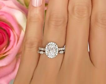 1.5 ctw Oval Halo Bridal Set, Art Deco Wedding Ring, Man Made Diamond Simulants, Half Eternity Ring, Halo Engagement Ring, Sterling Silver