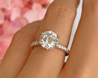 14K White Gold Plated Man Made Diamond Simulants Promise Ring 3.36 ctw Princess Accented Solitaire Engagement Ring Wedding Ring